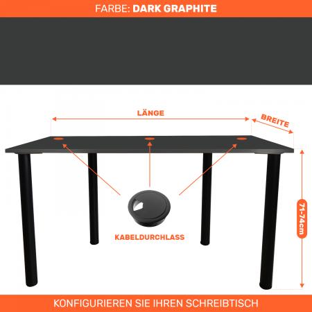 Maßgefertigter Schreibtisch Bürotisch Computertisch individuel | D. Garphite
