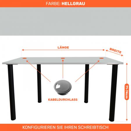 Maßgefertigter Schreibtisch Bürotisch Computertisch individuel | Hellgrau