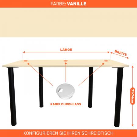 Maßgefertigter Schreibtisch Bürotisch Computertisch individuel   Vanille