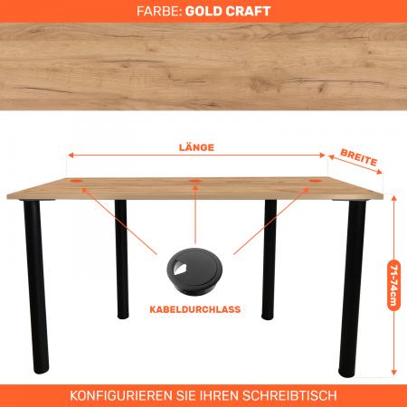 Maßgefertigter Schreibtisch Bürotisch Computertisch individuel | Gold Craft
