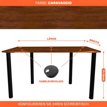 Maßgefertigter Schreibtisch Bürotisch Computertisch individuel | Caravaggio