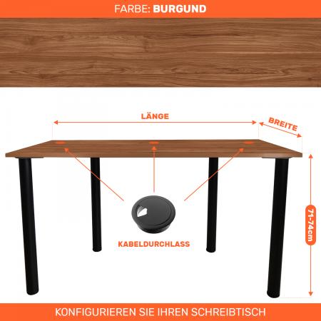 Maßgefertigter Schreibtisch Bürotisch Computertisch individuel | Burgund