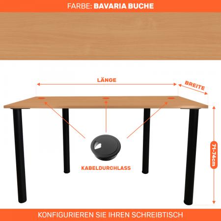 Maßgefertigter Schreibtisch Bürotisch Computertisch individuel | Bavaria Buche