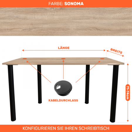 Maßgefertigter Schreibtisch Bürotisch Computertisch individuel   Sonoma