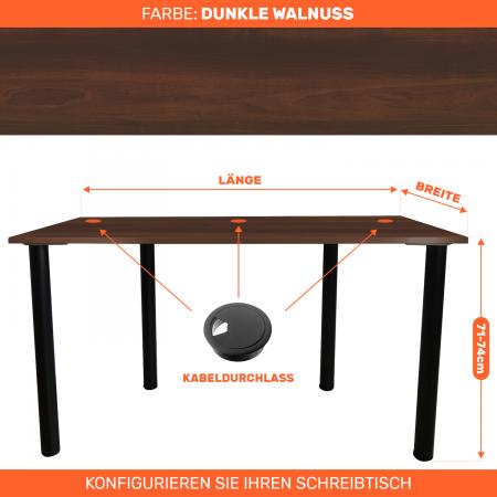 Maßgefertigter Schreibtisch Bürotisch Computertisch individuel | Dunkle Wallnuss
