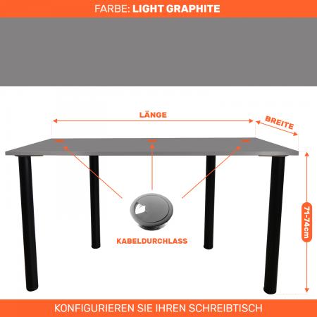 Maßgefertigter Schreibtisch Bürotisch Computertisch individuel | L.Graphite