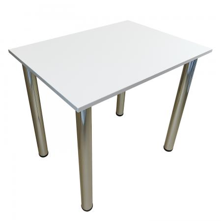 90x50 Esstisch Küchentisch Tisch mit Chrom Beine  Weiss