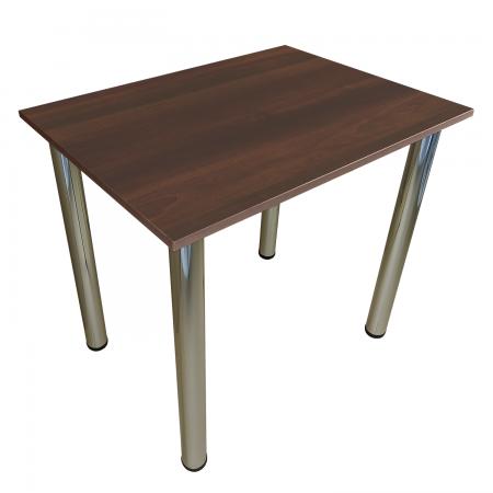 80x60 Esstisch Küchentisch Tisch mit Chrom Beine  Dunkle Walnuss