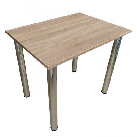 80x50 Esstisch Küchentisch Tisch mit Chrom Beine  Sonoma