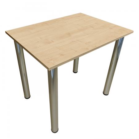 65x65 Esstisch Küchentisch Tisch mit Chrom Beine |Ahorn