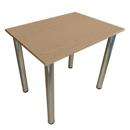 65x65 Esstisch Küchentisch Tisch mit Chrom Beine  Eiche - Hell