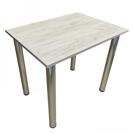 80x50 Esstisch Küchentisch Tisch mit Chrom Beine |Weiss Craft