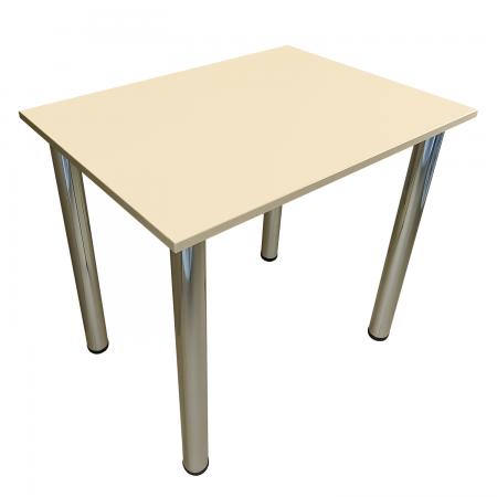 80x60 Esstisch Küchentisch Tisch mit Chrom Beine |Vanille