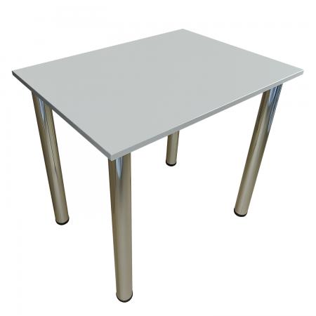 65x65 Esstisch Küchentisch Tisch mit Chrom Beine |Hellgrau