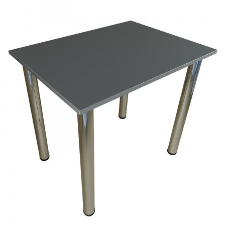 80x60 Esstisch Küchentisch Tisch mit Chrom Beine |Dark Graphite