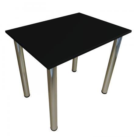 80x60 Esstisch Küchentisch Tisch mit Chrom Beine  Schwarz